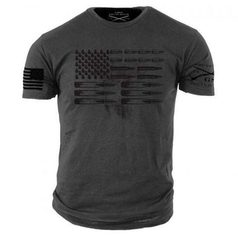 Grunt Style Men/'s Graphic Military Tee Shirt Grey Ammo Flag T-Shirt