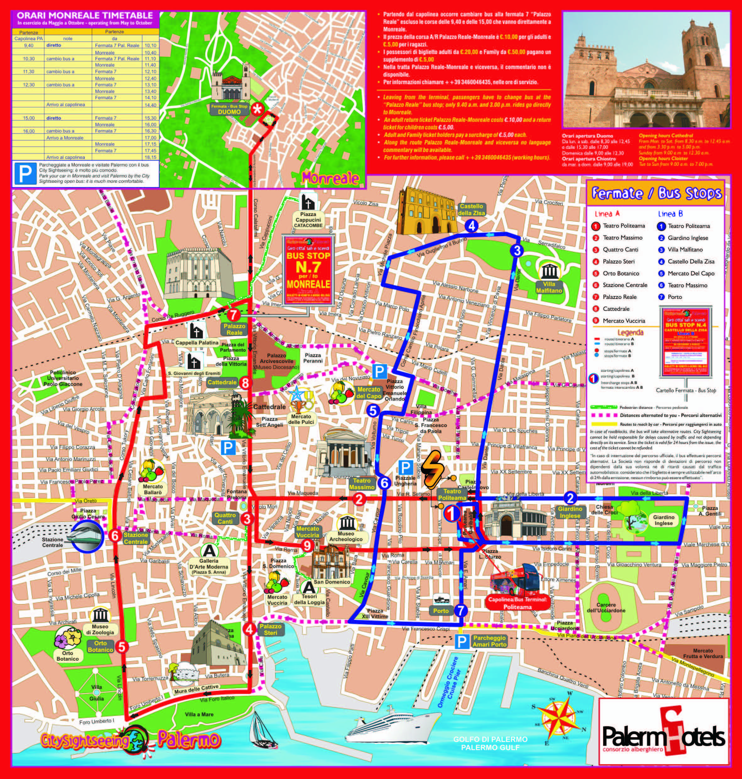 Map of routes for Hop On Hop Off Bus in Palermo. | Buses | Bus map ...