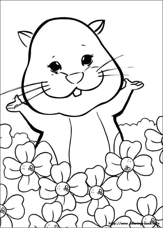 zhu zhu pet in the flowers httpwwwcoloring book - Coloring Pages Coloring Book Info