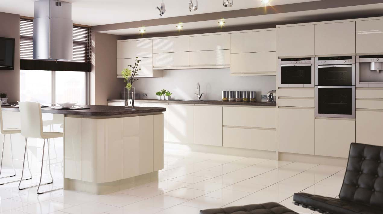 Ivory Kitchen Sheraton In Line Gloss Kitchen J Pull Doors With An Integrated