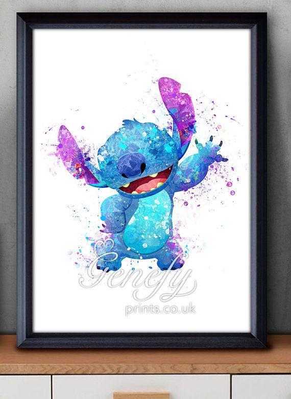 Disney Lilo Et Stitch Aquarelle Affiche Imprimer Par Genefyprints