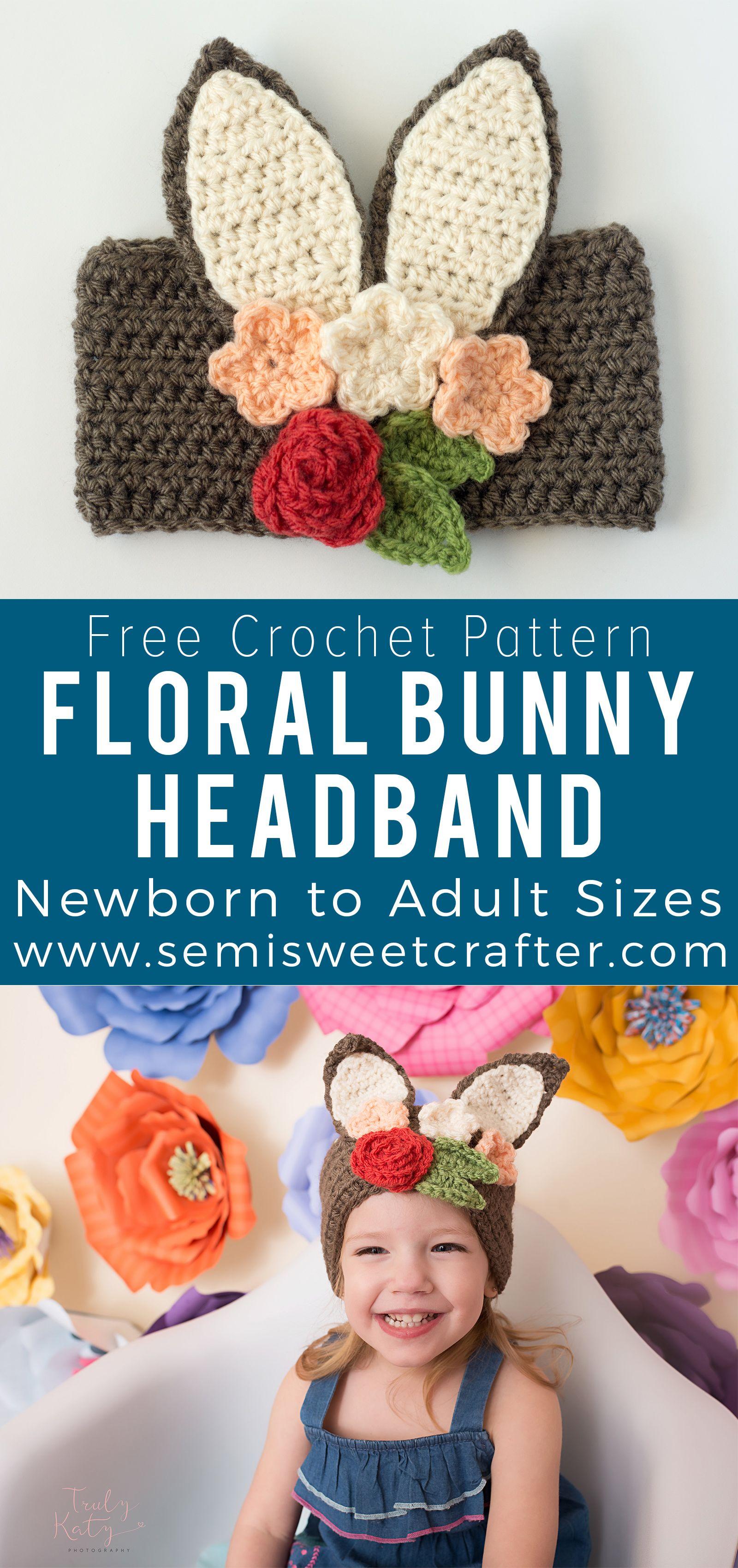 Floral Bunny Headband #crochetedheadbands