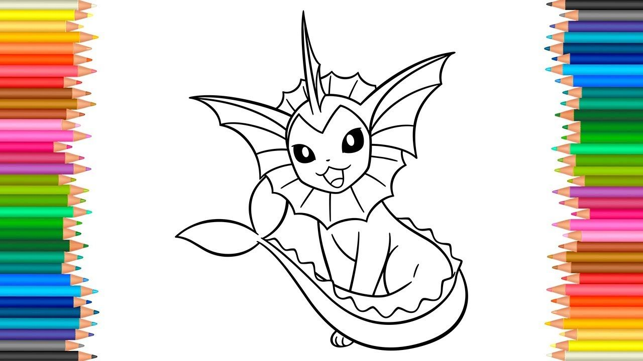 Pokemon 134 - Vaporeon Coloring Pages l Coloring Book Markers Videos ...