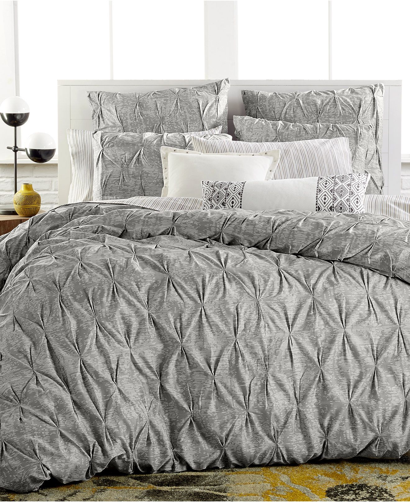 bar iii diamond pleat full/queen duvet cover - bedding collections