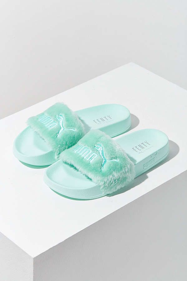 low priced 9aa04 62bab Puma Fenty by Rihanna Leadcat Mint Faux Fur Slide ...