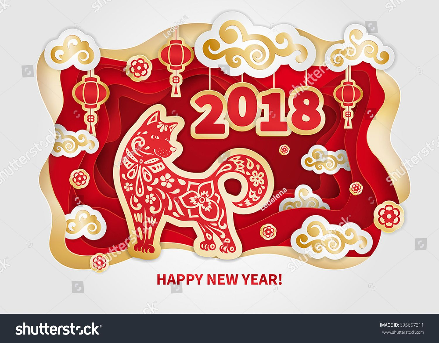 Dog Is A Symbol Of The Chinese New Year Paper Cut Art Design For Greeting Cards