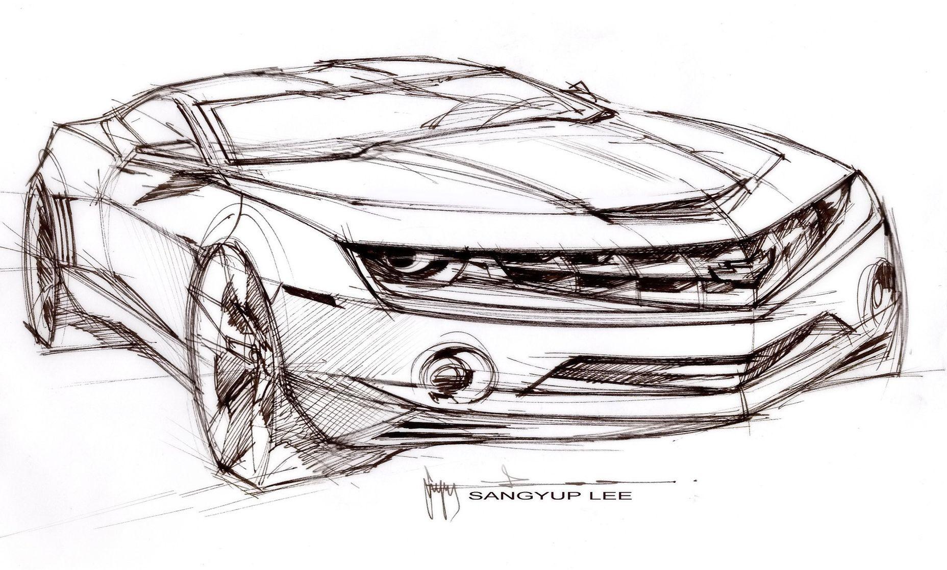 Dessin de 3/4 avant de la Chevrolet Camaro RS. | Voiture | Pinterest