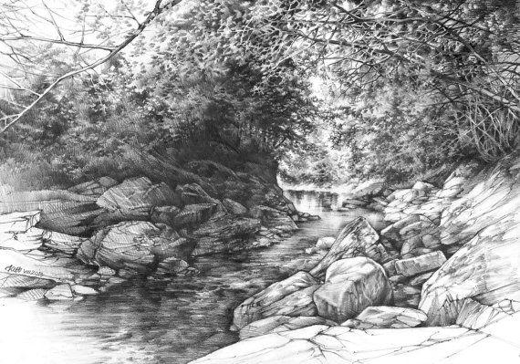 Original Pencil Landscape By Katarzyna Kmiecik Pencil Etsy In 2020 Landscape Drawings Landscape Pencil Drawings Landscape
