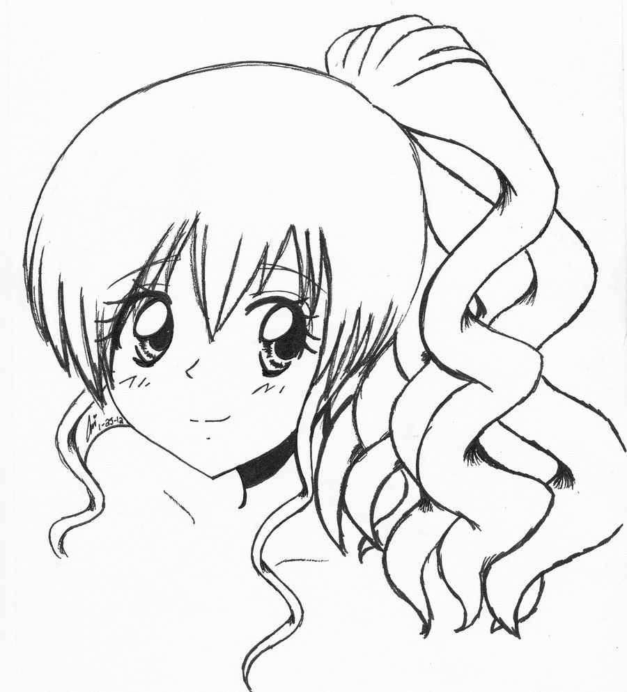 Anime Girl With Curly Hair By Ariibabeeiantart On @deviantart