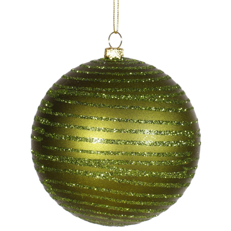 "Olive Green Glitter Striped Shatterproof Christmas Ball Ornament 4"" (100mm)   Ball ornaments ..."