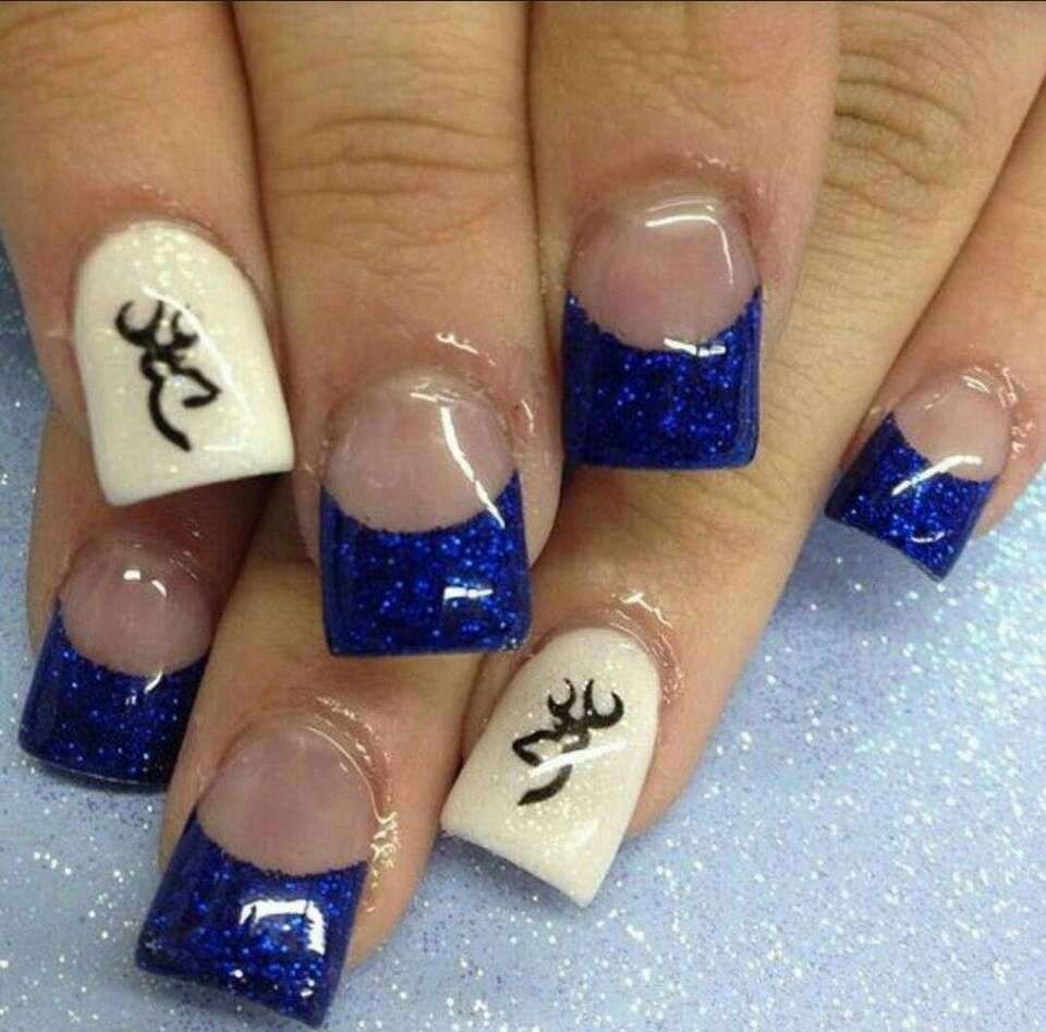 Browning nails but with pink - Blue Browning Fancy Fingers Pinterest Browning, Redneck