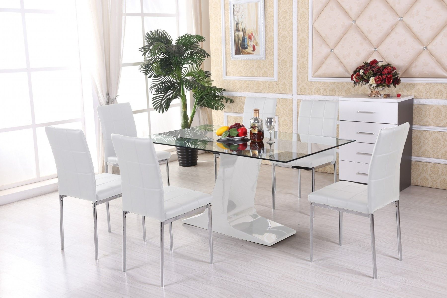 Modern Glass Dining Table Modern Glass Kitchen Table  Modern New White Dining Room Table And 6 Chairs Review