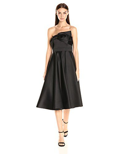 Cynthia Rowley Women's Bonded Satin Strapless Tea Length Dress with Circle Skirt