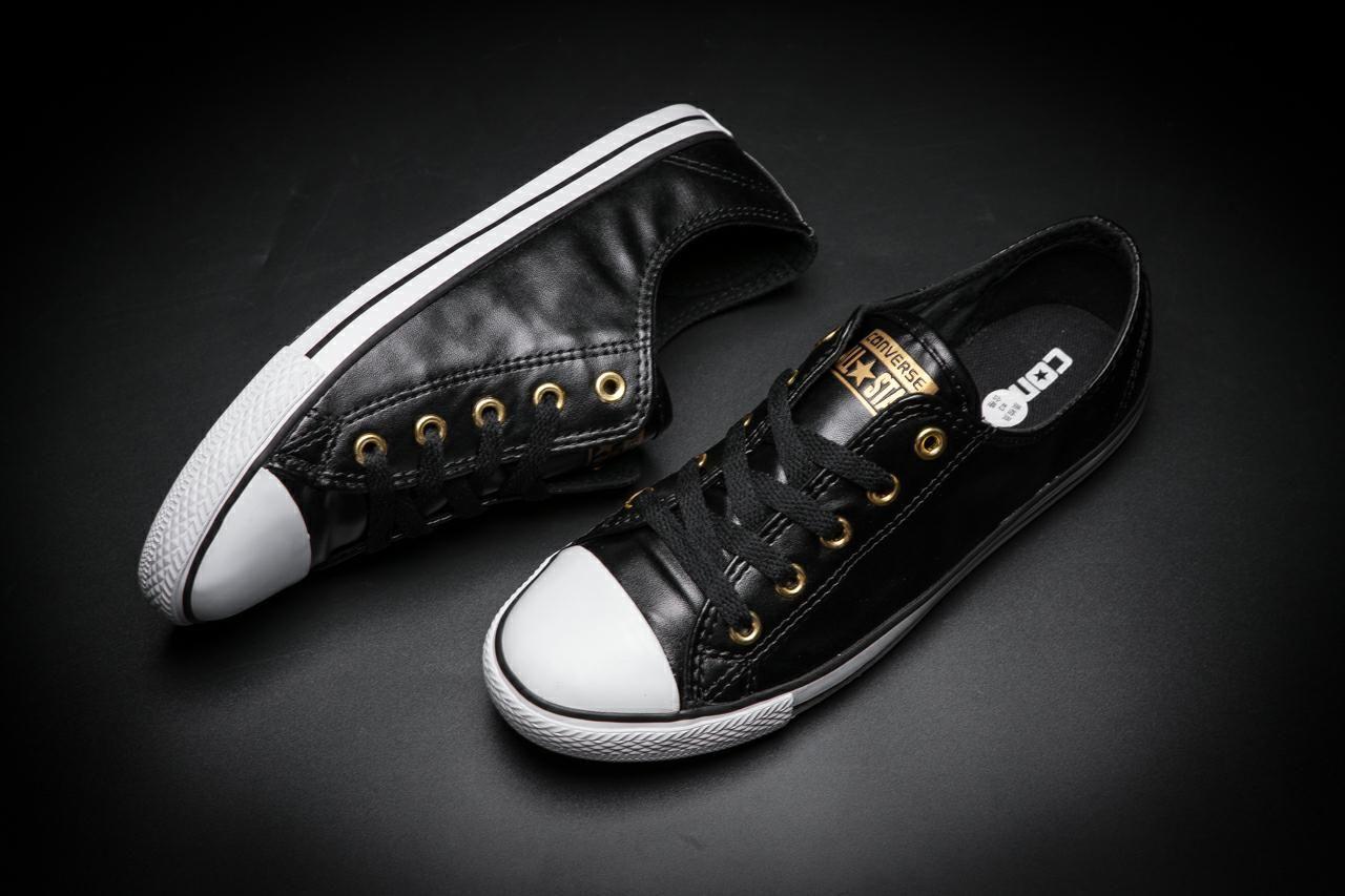 Converse Chuck Taylor All Star Slim Black Leather Low Tops Black Leather Converse Leather Converse Black Leather