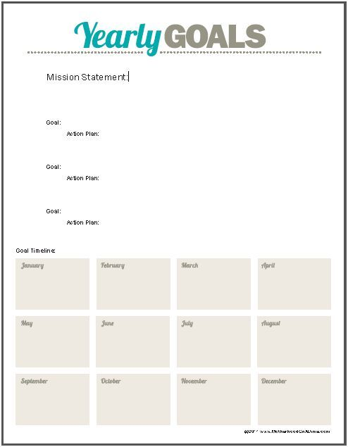 printable goal sheet with room for your action plan and. Black Bedroom Furniture Sets. Home Design Ideas
