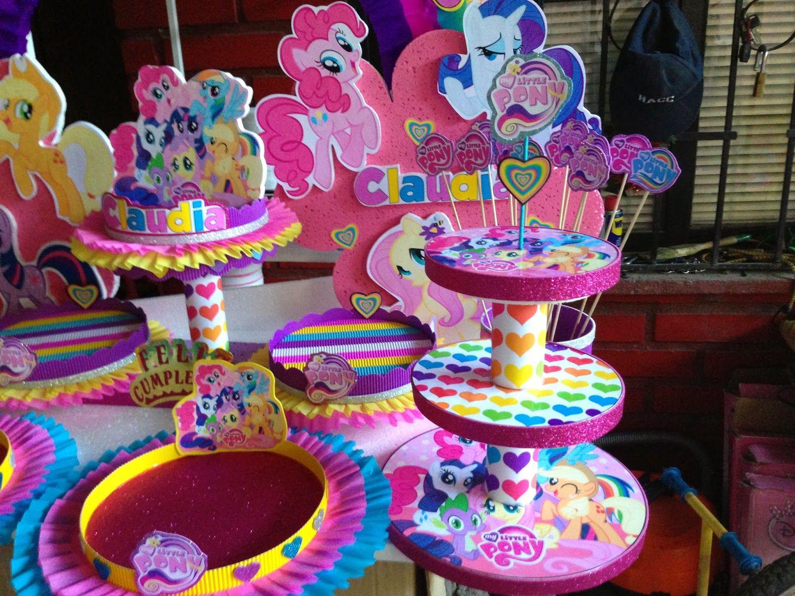 Decoraciones infantiles my little pony viole cumple for Decoracion de mesas dulces infantiles