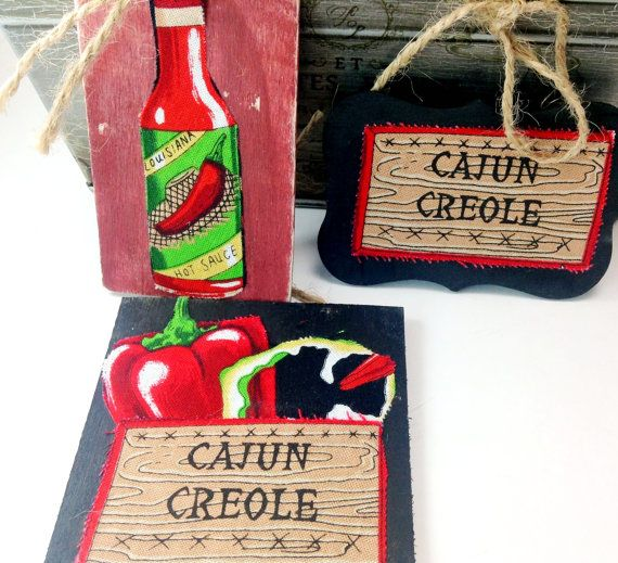Cajun creole HOT and SPICY Wood Signs Set of 3 by mydecor8 on Etsy, $5.25