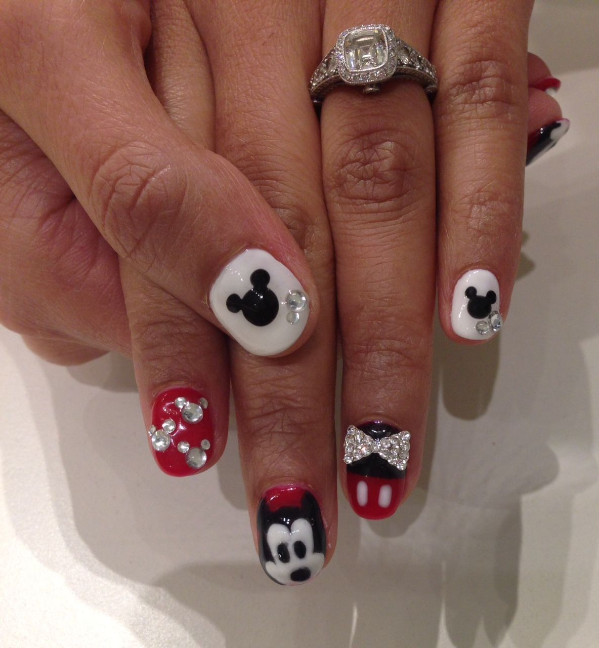 Mickey Mouse themed nails done with Bio Sculpture Gel. Nails by ...