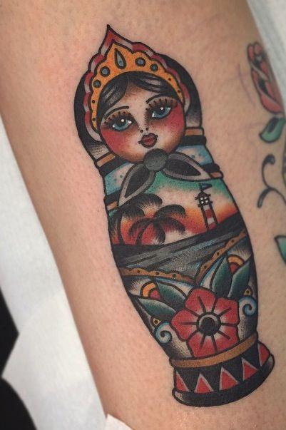 russian doll tattoo old school tattoos doll tattoo. Black Bedroom Furniture Sets. Home Design Ideas