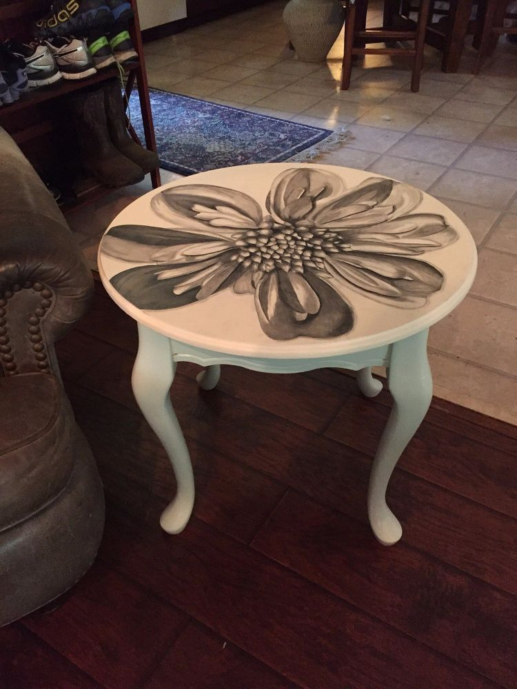 Pair of Queen Ann Magnolia Stained End Tables {First of the Pair}