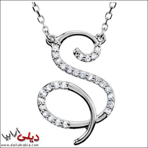 صور حرف S اجمل و احلى صور خلفيات بطاقات رمزيات حرف S بالنار مزخرف فى قلب رومانسية White Gold Pendant Necklace Script Initial Necklace Initial Pendant Necklace