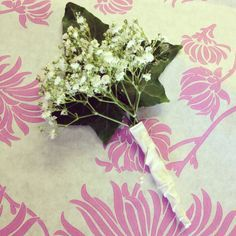 Buttonhole with gypsophila, hedera helix and white ribbon