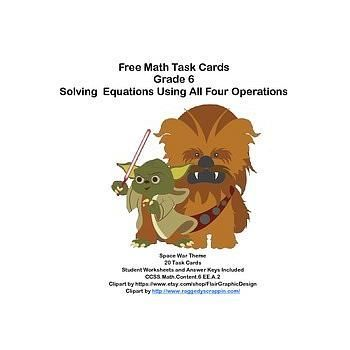 Fun Free Math Task Cards for Grade 6-Solving for the Unknown-All 4 Operations