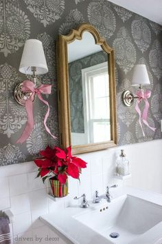 Powder room (those walls are stenciled!) with simple holiday decorations