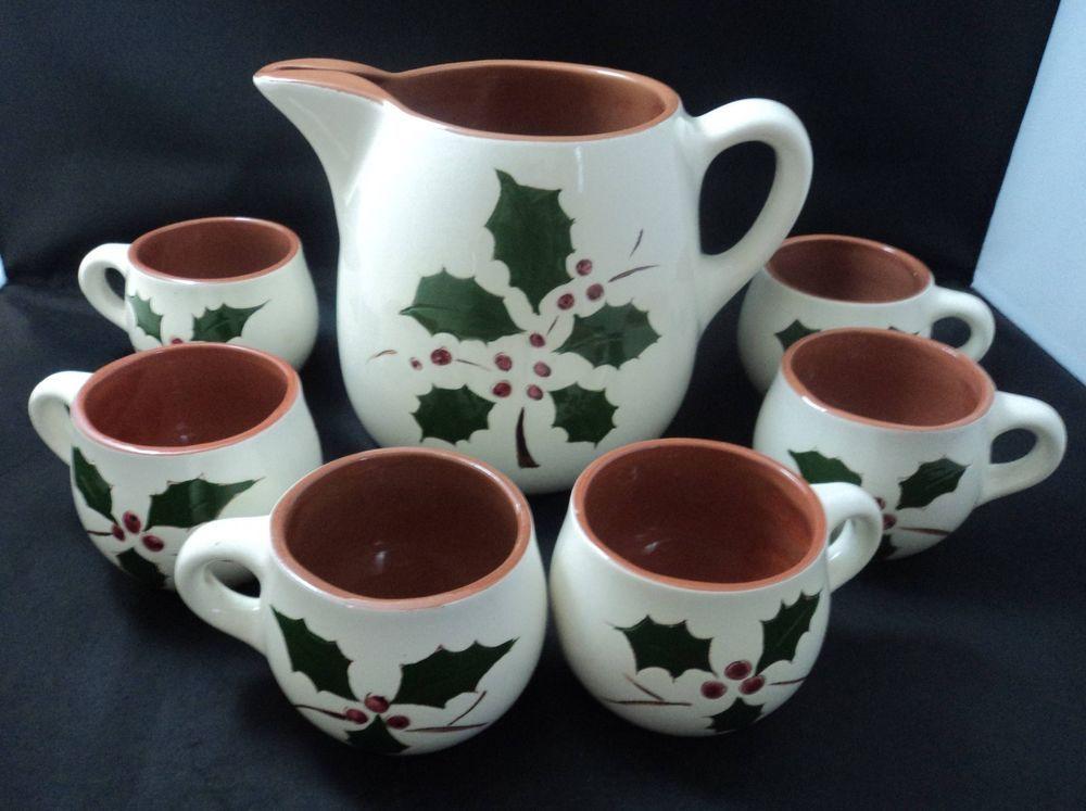 Stangl Pottery Holly Pattern Large Pitcher with 6 Mugs China Dinnerware # Stangl & Stangl Pottery Holly Pattern Large Pitcher with 6 Mugs China ...