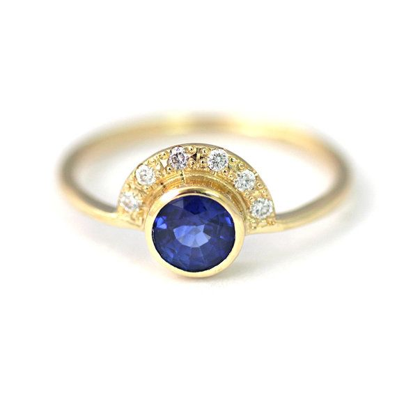 Sapphire Engagement Ring with Pave Diamonds Crown - One Carat Round Cut Sapphire - 18k Solid Gold