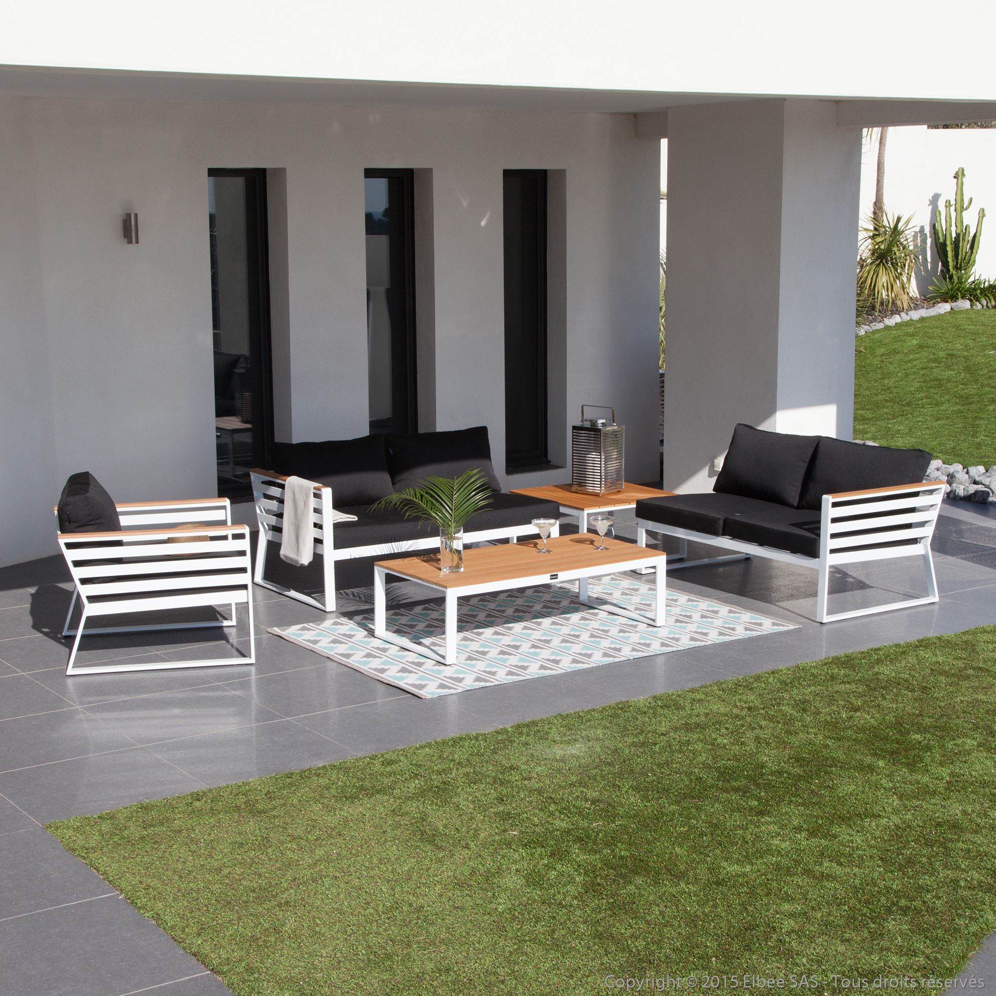 Salon de jardin 5 places : 2 canapé modulable + 1 fauteuil + 2 ...