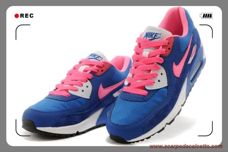 Donna Nike Air Max 90 Dark Blu Rosa Bianco migliori scarpe da calcetto