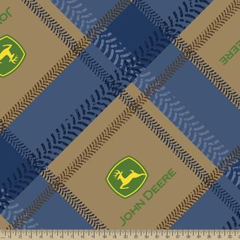 John Deere Tractor Plaid Fleece Fabric Fabrics Pinterest