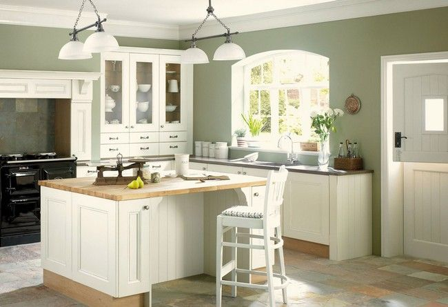 Sage Green Kitchen Walls White Cabinets