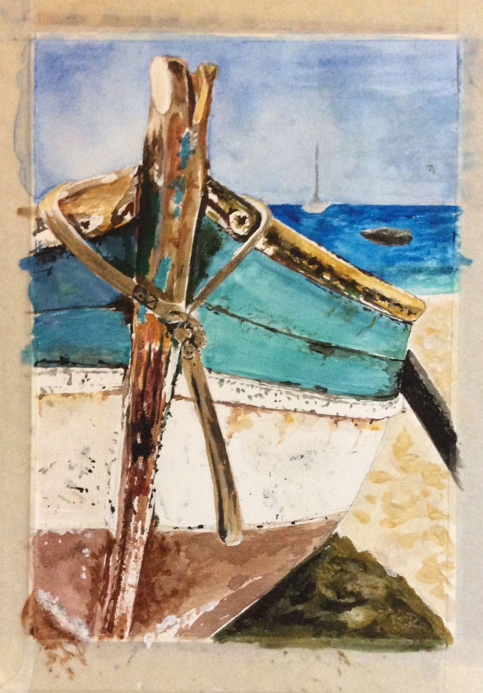 Broken Seaside Peinture Bateau Plage Aquarelle