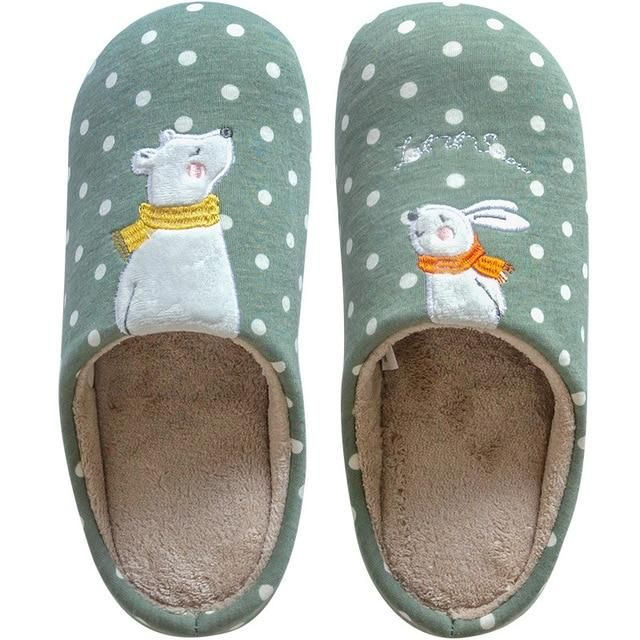 Photo of Indoor Warm Women Slippers Cute Animal – 385w gray / 43