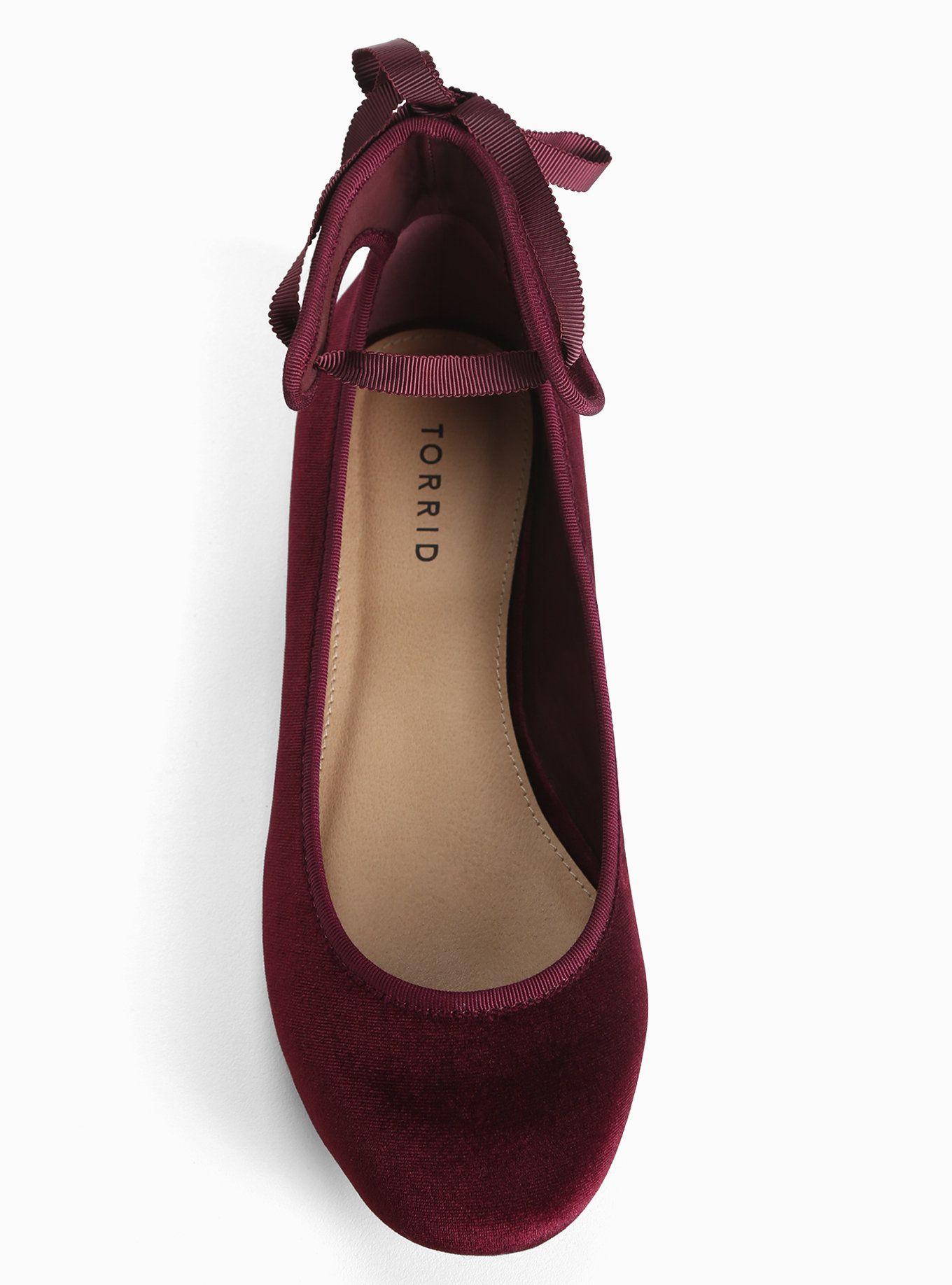 Velvet Ankle Tie Ballet Flats (Wide Width). Red ShoesRed ...