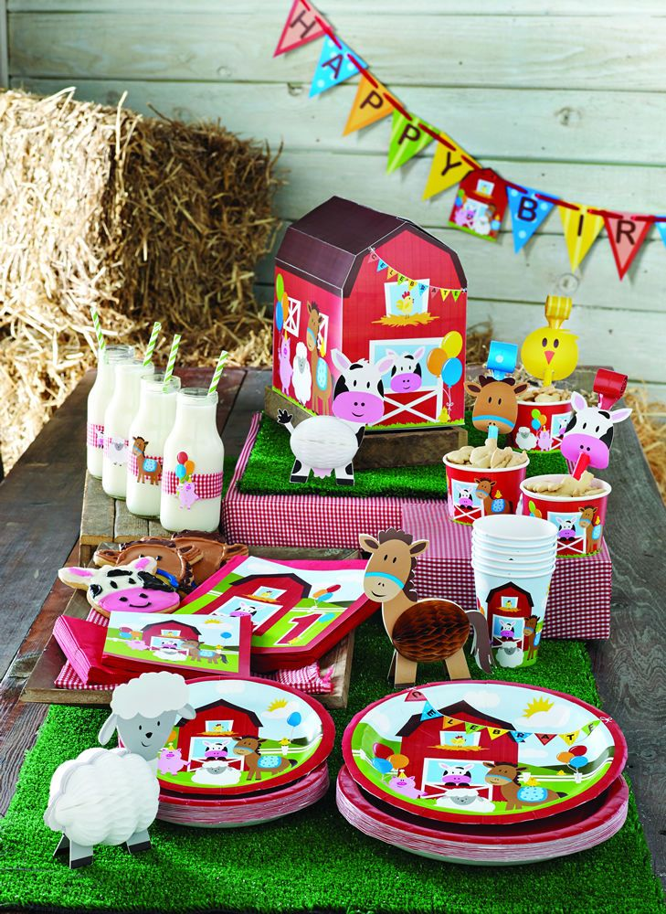 Stylish Baby First 1st Birthday Farm Fun Party Plates Cups Napkins