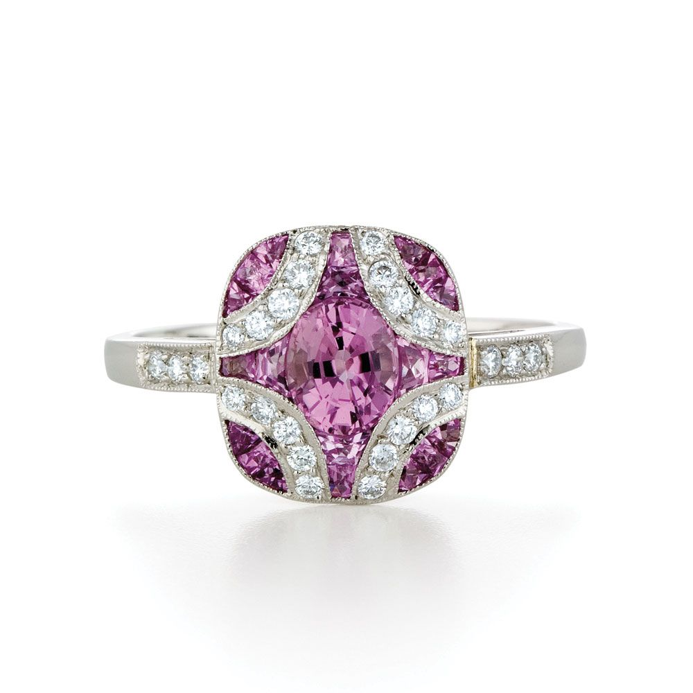 Kwiat Vintage Pink Sapphire Diamond Argyle Ring In 18k White Gold Kwiat Pink Engagement Ring Pink Sapphire Diamond Ring Fashion Rings