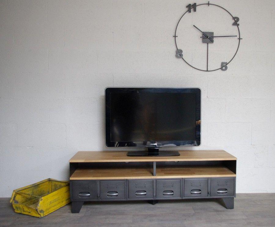 Meuble Tv Metal Et Bois Industriel Fabrique Dans Notre Atelier Avec Des Anciens Tiroirs Hauteur De La Niche Sur Mesure Pour Meuble Tv Meuble Metal Industriel