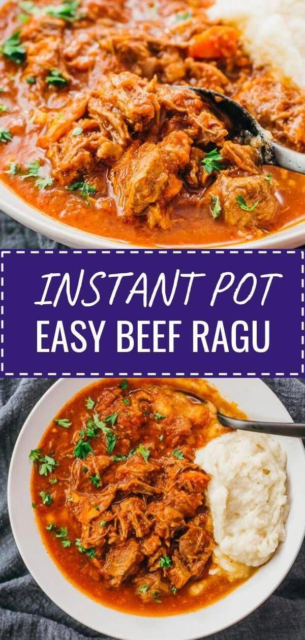 This is a super easy recipe for Instant Pot Shredded Beef Ragu! It's a delicious stew with Italian flavors and pulled meat. I serve this with mashed cauliflower instead of mashed potatoes or pasta. It's a simple dinner idea for healthy diets, keto, low carb, paleo, whole 30, and gluten free. Click the pin to find the recipe, nutrition facts, cooking tips, & more photos. #healthyrecipes #lowcarb #keto #glutenfree #paleo #instantpot #dinner #LowCarbDinnerMeals