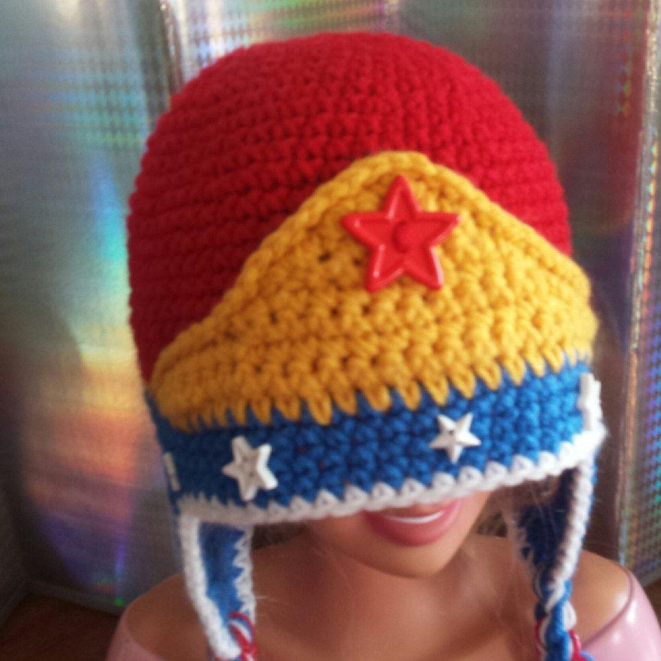 Crochet Wonder Woman Inspired Ear Flap Hat/beanie - Kids- Adult ...