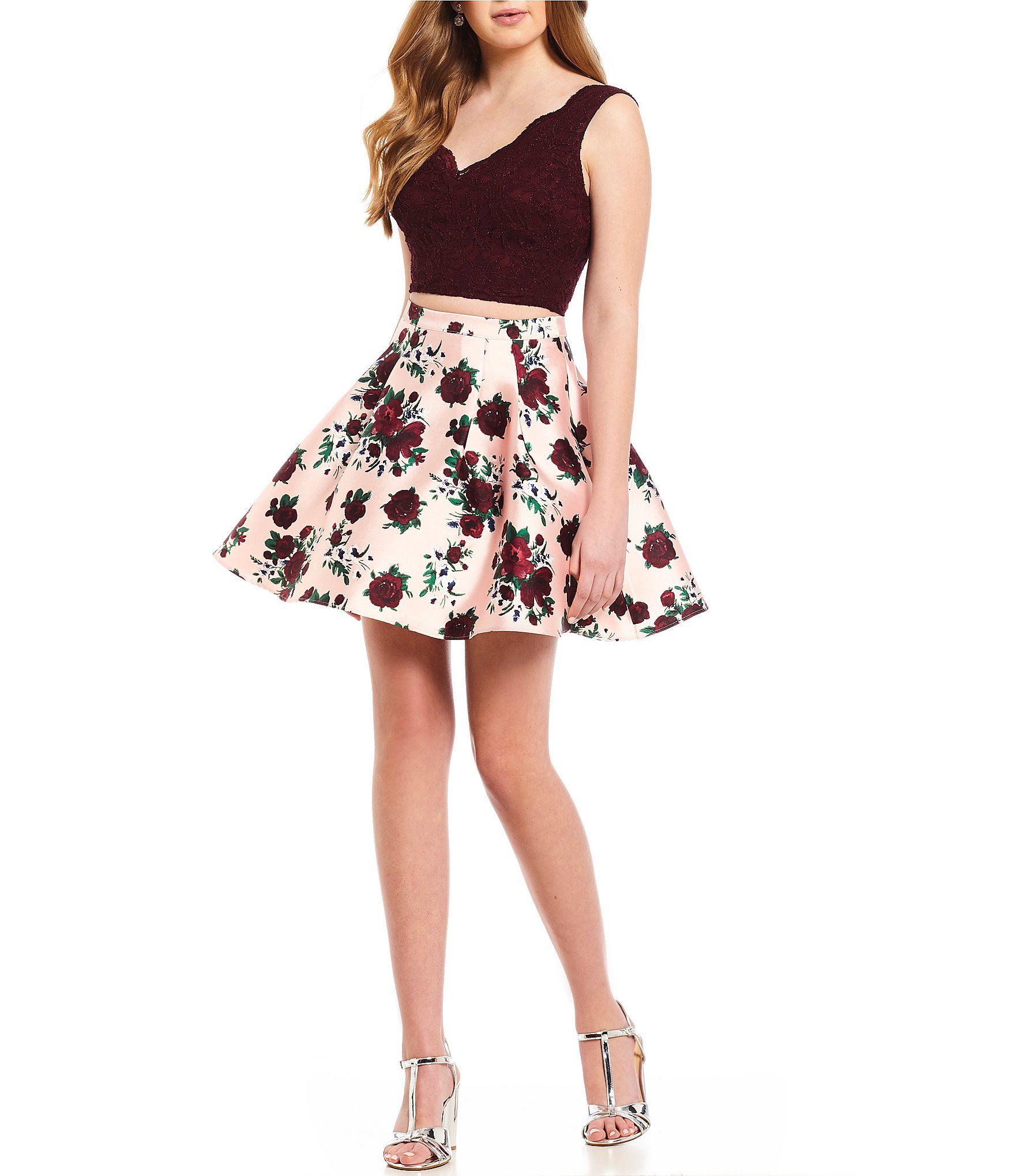 58efec0e95 B Darlin Lace Tank with Floral Print Skirt TwoPiece Dress #Dillards ...