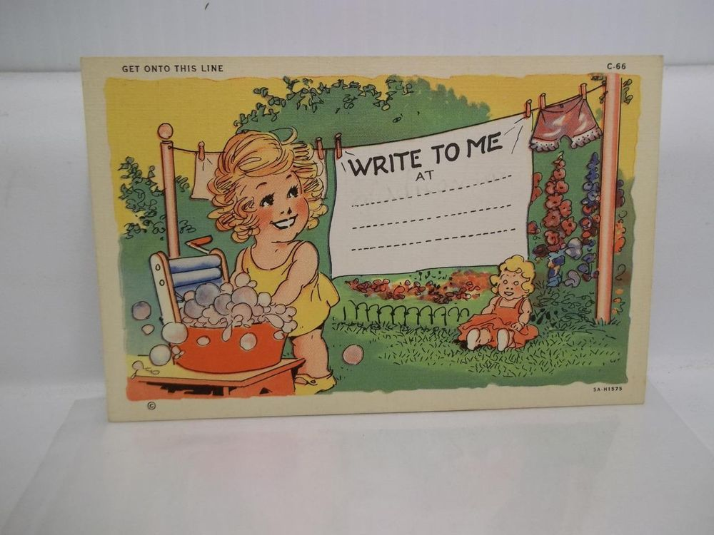 Get Onto This Line Write To Me At Comic Humor Postcard CT Art-Colortone New Vtg