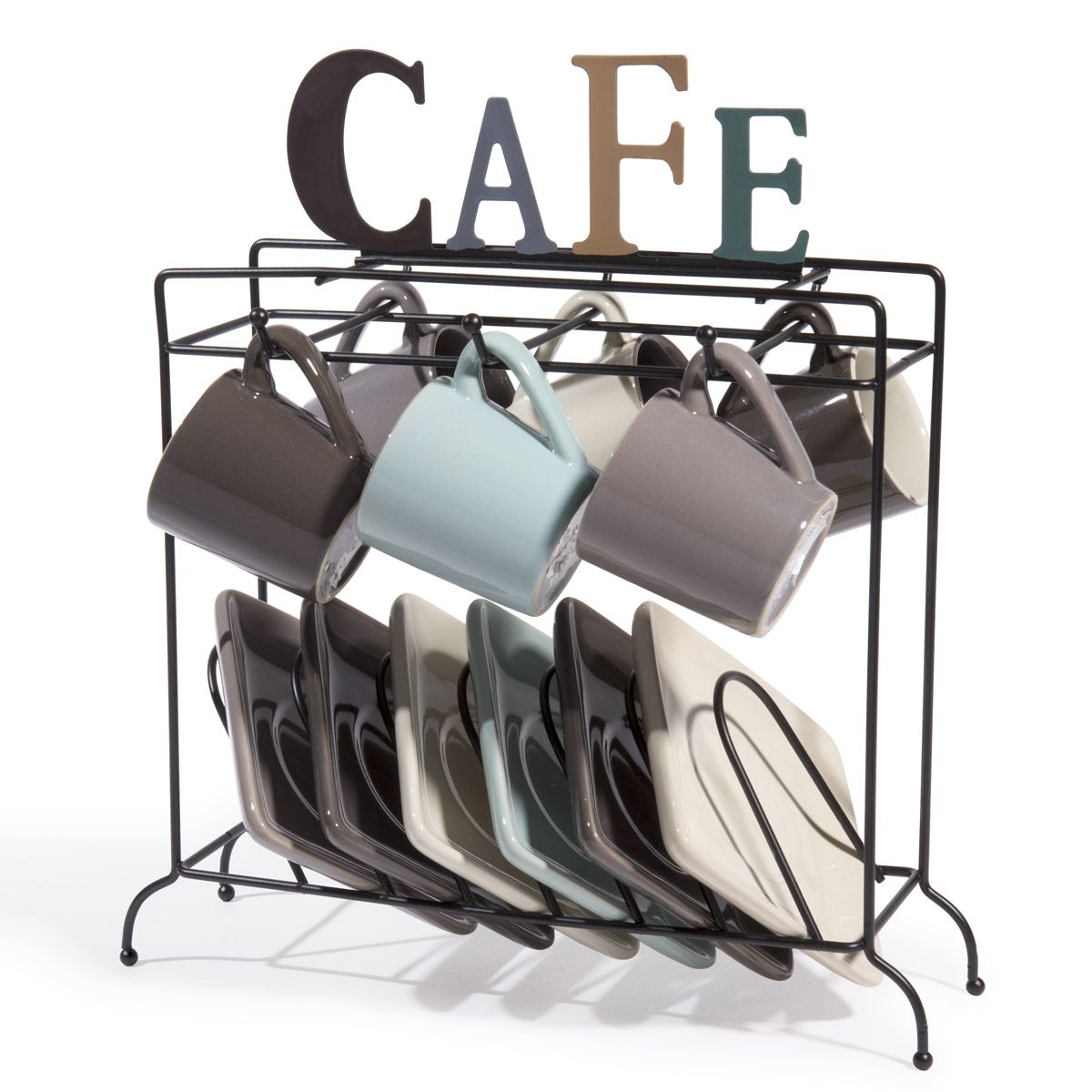 6 tasses et soucoupes support nordic caf vaisselle en. Black Bedroom Furniture Sets. Home Design Ideas