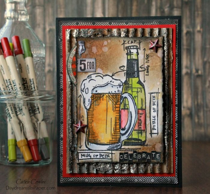 Handmade Card Using Tim Holtz Beer Blueprints Stamp Set Stampers - new blueprint coffee watson