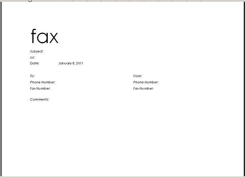 Microsoft Fax Word Template  Resume Samples    Template