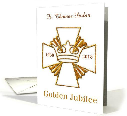custom name date golden 50th jubilee golden cross look