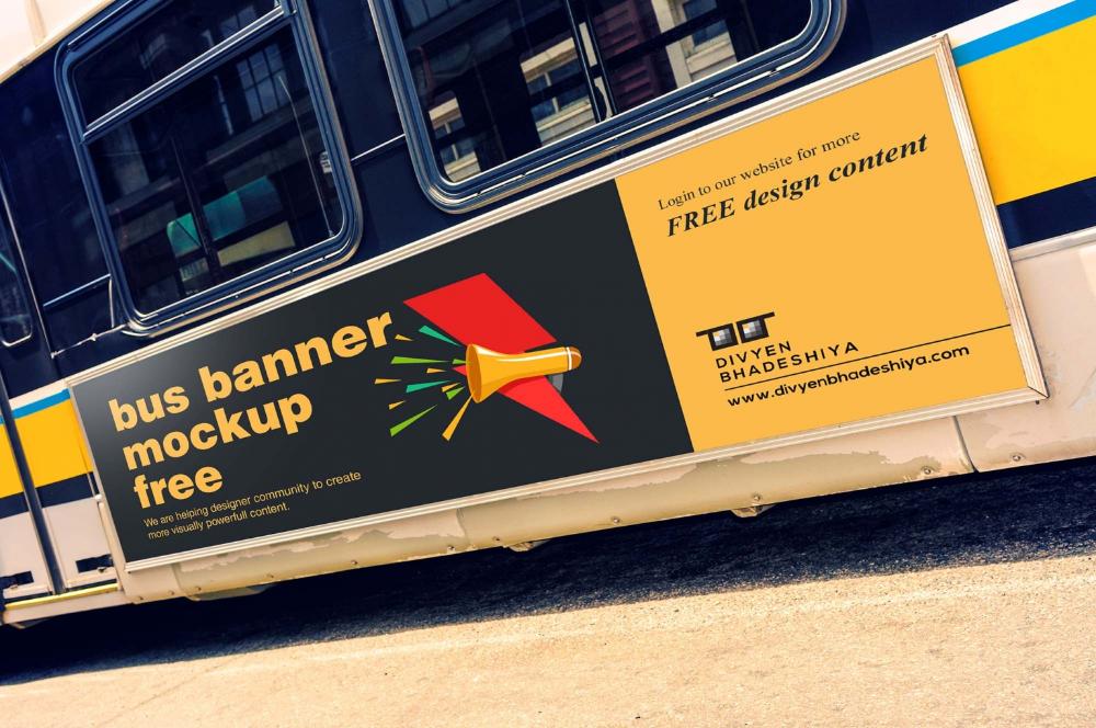 Free Bus Banner Mockup Psd In 2021 Bus Mockup Best Banner Design