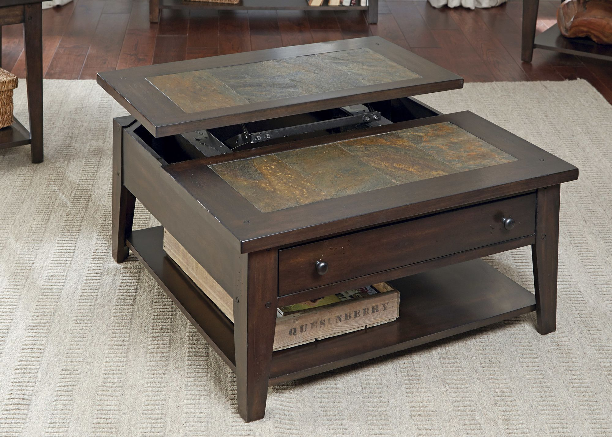 Leadville North Coffee Table With Lift Top Coffee Table Liberty Furniture Square Cocktail Table